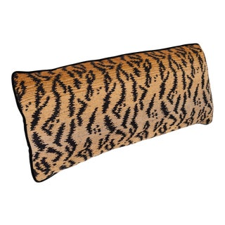 Velvet Tiger Pattern Lumbar Pillow For Sale