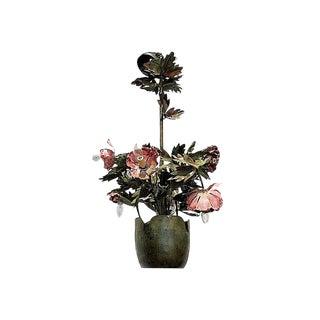 1970s Garland Faulkner Floral Tole Chandelier For Sale