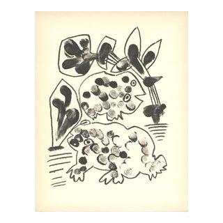 """Pablo Picasso De Memoire d'Homme VIII 13"""" X 9.75"""" Lithograph 1950 Cubism Gray Frogs For Sale"""