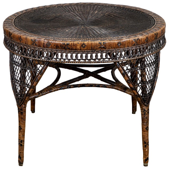 Victorian Wicker Round Side Table For Sale - Image 11 of 11