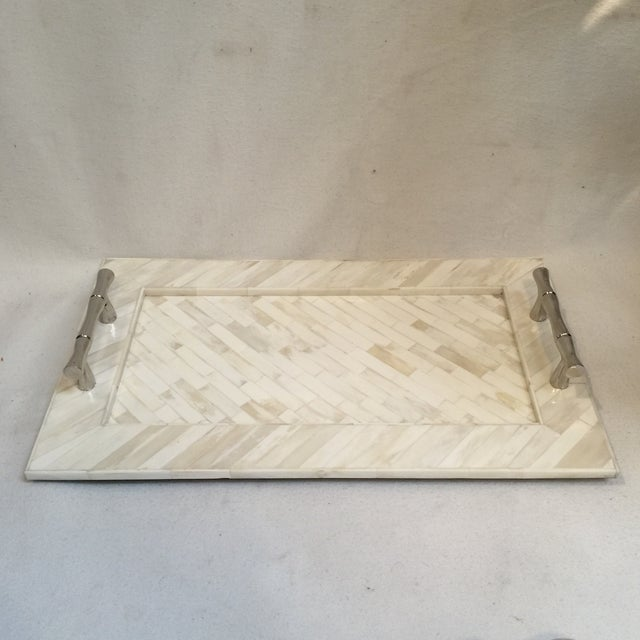 Beautiful white/natural bone inlay tray with lovely chrome Bamboo style handles. Great size and great impact! New never used.