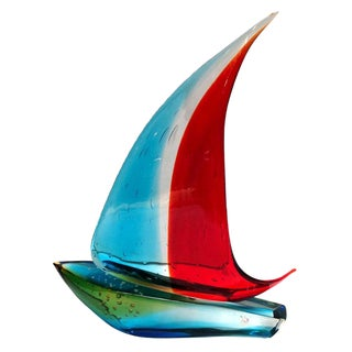 Murano Sailboat Single Sail by Sergio Costantini For Sale