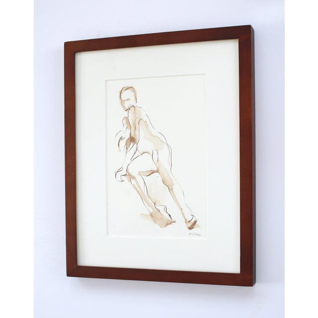 Contemporary Original Figure Pen and Ink Drawing of Seated Nude by Michelle Arnold Paine - Framed For Sale - Image 4 of 5