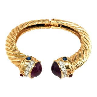 70s Cabochons Gold Plated Bracelet by Kenneth Jay Lane For Sale