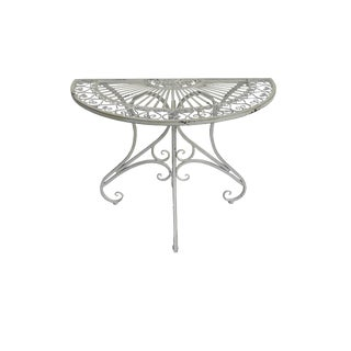 Pierced Demi Lune Metal Garden Table Patio Foyer Demi Lune Console Table For Sale