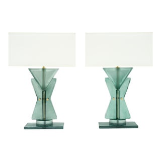 Murano Glass Teal Geometric Totem Lamps For Sale