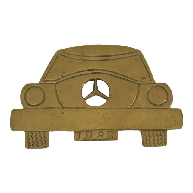 Vintage 1983 Mercedes Benz Car Solid Brass Iron Rest Hot Plate Pad Trivet Stand - Image 1 of 4