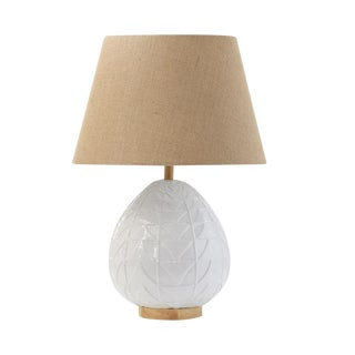 Embossed Ceramic Table Lamp With Shade For Sale