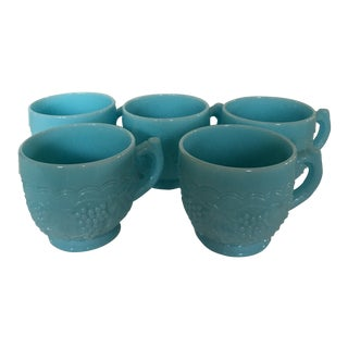 1940s Turquoise Milk Glass Opaque Cups - Set of 5 For Sale