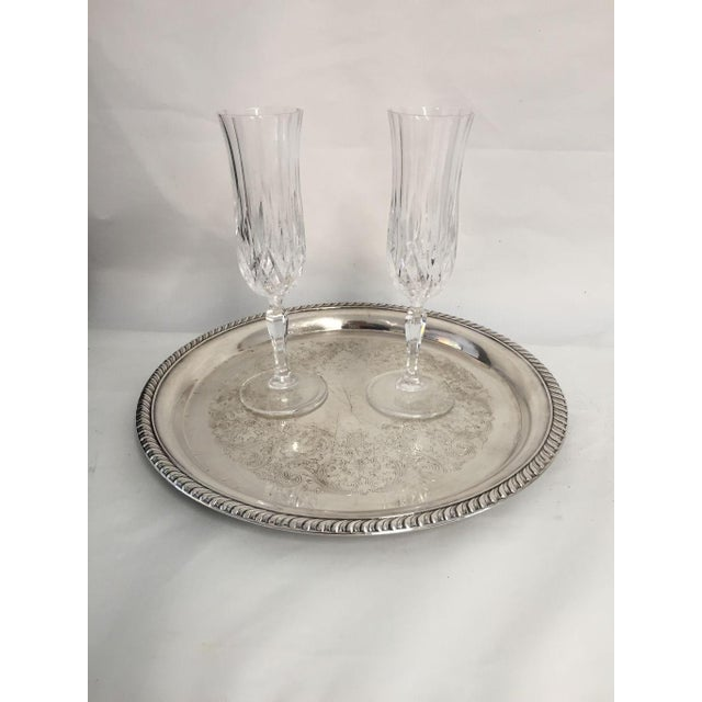Elegant Champagne Flutes Cut Glass Serving For 2, comes with vintage silver plated tray no makers mark on tray nor glasses...