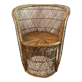 Vintage Boho Rattan Peacock Style Chair For Sale
