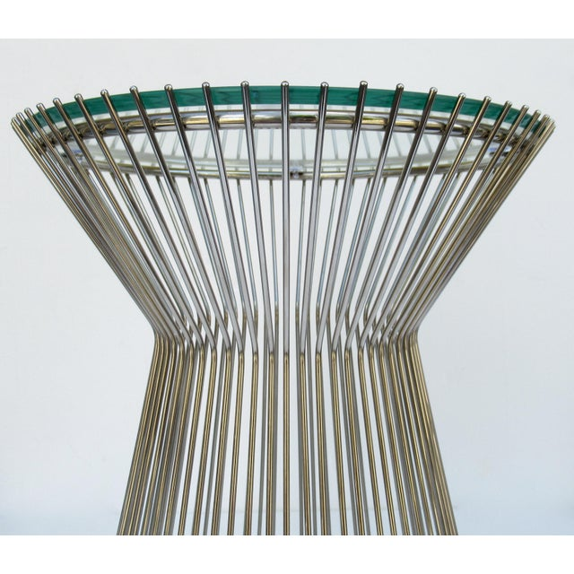 White Warren Platner-Style Polished Steel and Glass Round Accent, Side Table For Sale - Image 8 of 13