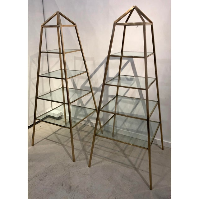 1960s Brass Italian Obelisk Shaped Etageres - a Pair For Sale - Image 10 of 12