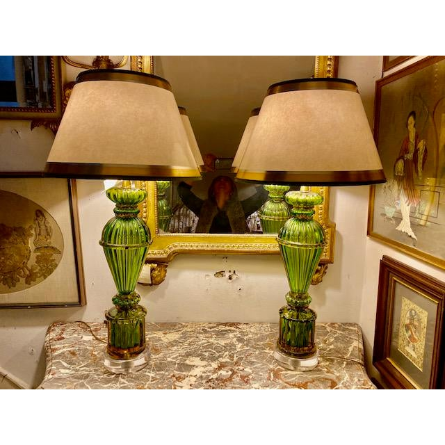 White Vintage Murano Glass Lamps - a Pair For Sale - Image 8 of 8