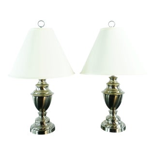 Pottery Barn Metal Base Lamps - a Pair For Sale
