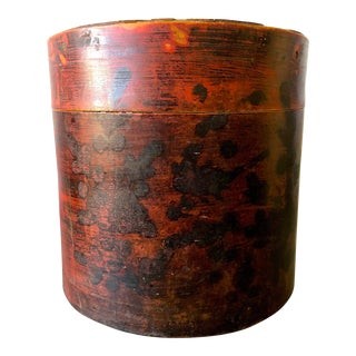 Antique Chinese Red Lacquer Lidded Hat Box - Large For Sale