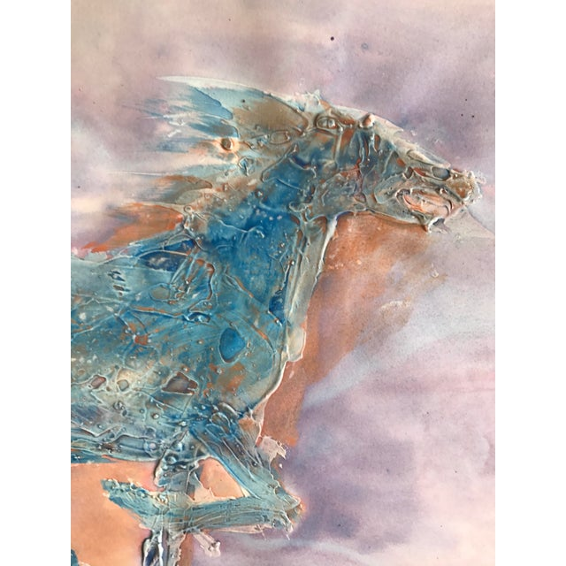 """Patricia Zippin Blue Horse Running 1980s Mixed Media 30"""" x 22.25"""", unframed Signed bottom right in pencil Excellent..."""