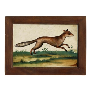 Red Fox Watercolor Print Behind Glass in Red-Brown Distressed Solid Wood Frame For Sale
