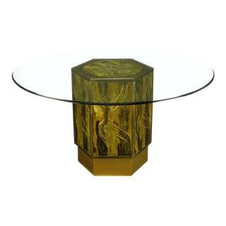 Bernhard Rohne For Mastercraft Acid Etched Brass Hexagonal Pedestal Table For Sale