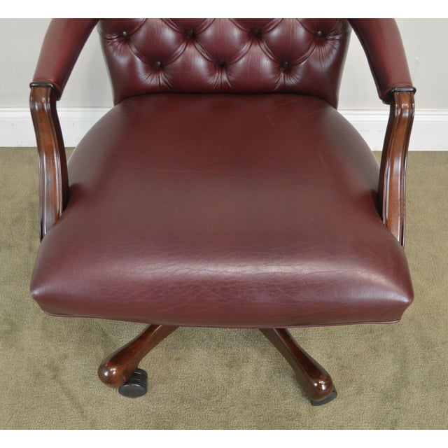 Brown Oxblood Red Leather Tufted Chesterfield Style Executive Office Desk Chair (E) For Sale - Image 8 of 13