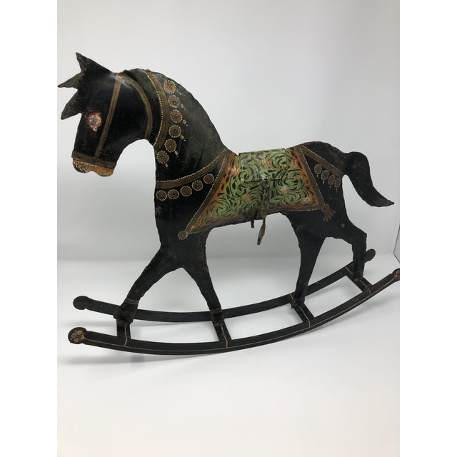 1970s 1970s Vintage Folk Art Hand-Painted Metal Rocking Horse For Sale - Image 5 of 5