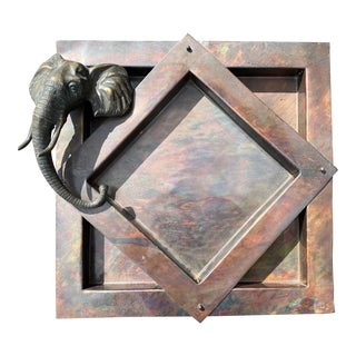 Bronze Elephant Copper Door or Wall Insert For Sale