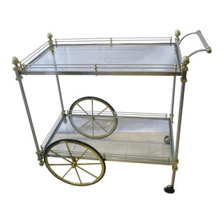 Hollywood Regency Maison Jansen Stainless Brass & Glass Bar/Serving Cart For Sale