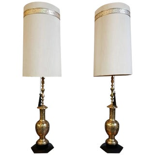 Large-Scale Moroccan Style Brass Table Lamps For Sale