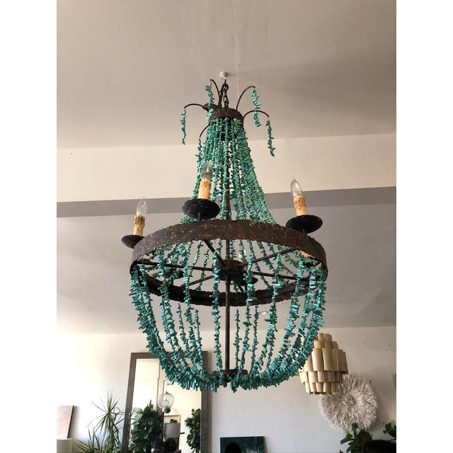 2010s Regina Andrew Rustic Empire Style Turquoise Beaded Chandelier For Sale - Image 5 of 5