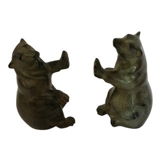 Stone Carving Polar Bear Intuit Bookends - a Pair