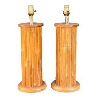 Vintage Coastal Bamboo Cyllinder Lamps - a Pair For Sale
