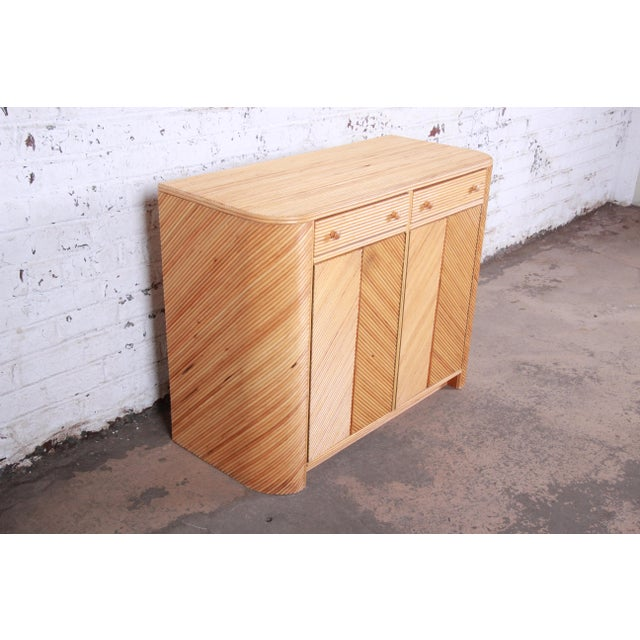 1970s Gabriella Crespi Style Split Reed Rattan Sideboard Cabinet For Sale - Image 5 of 13