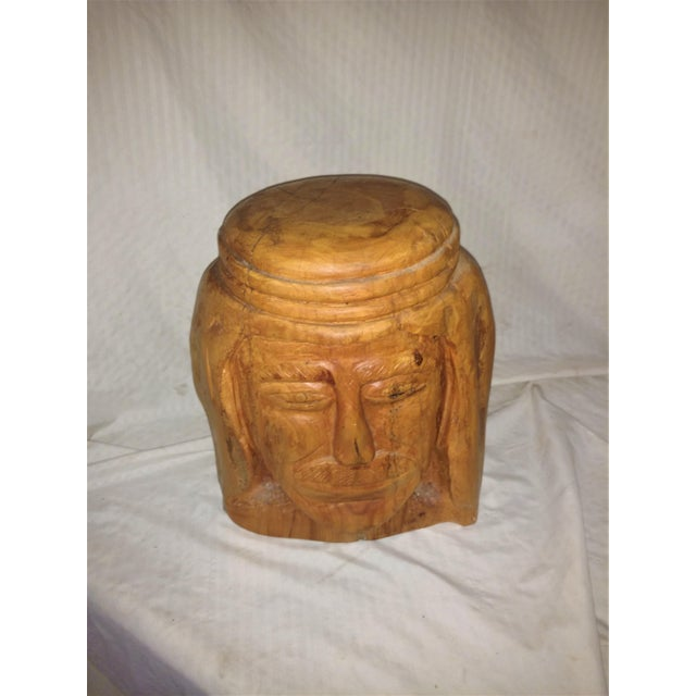 This large carved head is from a California artist who carved heads from characters from his imagination. Artist is Elias...