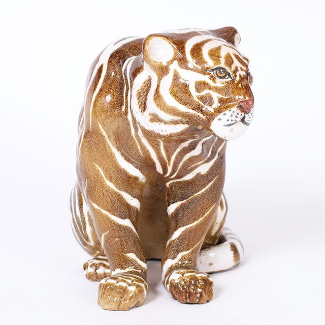 Mid-Century Modern Mid Century Terra Cotta Tiger For Sale - Image 3 of 8