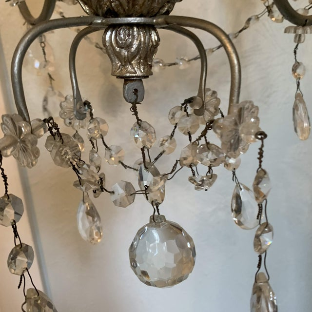 1940s Italian Crystal and Silver Gilt Iron Four Arm Chandelier For Sale In Denver - Image 6 of 12
