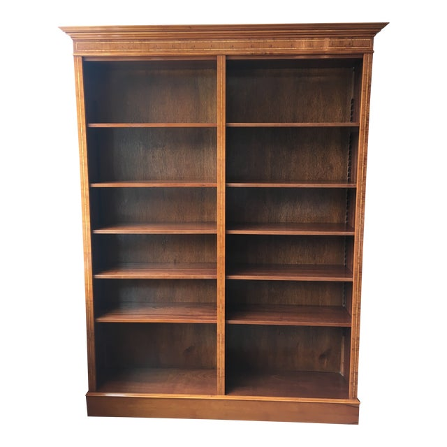 English Yewood Double Bookcase For Sale