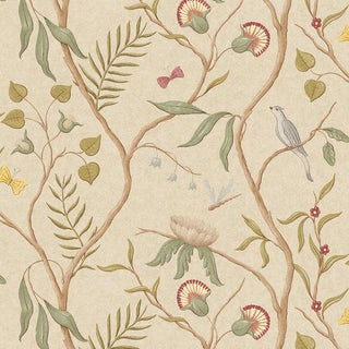 "Lewis & Wood Adam's Eden Taupe Extra Wide 51"" Botanic Style Wallpaper For Sale"