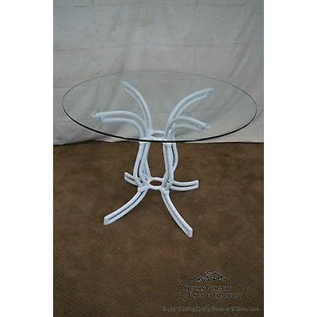 Vintage Cast Aluminum Faux Bamboo 5 Piece Patio Round Table 4 Chairs Set