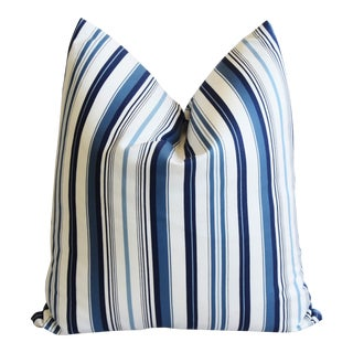 "French Nautical Blue & White Striped Feather Down Pillow 22"" X 23 "" For Sale"