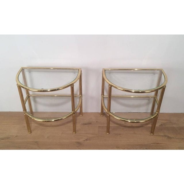 Pair of French Demi Lune Shaped Brass Side Tables For Sale - Image 4 of 10