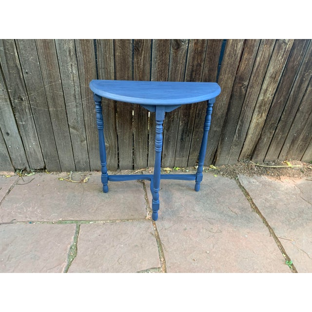 Transitional Blue Chalk Paint Demi Lune Side Table With Turned Legs For Sale - Image 10 of 13