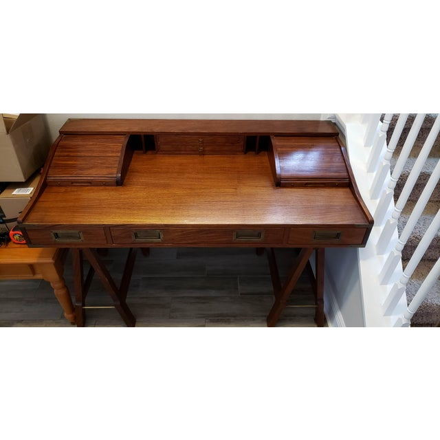 Mid 20th Century 20th Century Campaign Mahogany Writing Desk With Sawhorse Legs For Sale - Image 5 of 5