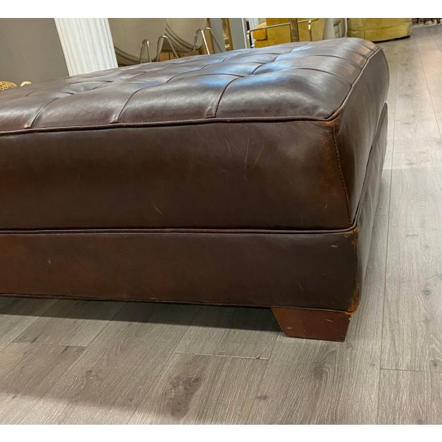 Contemporary Lee Industries Large Brown Leather Square Ottoman Coffee Table Chairish