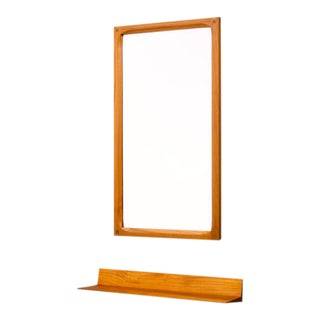 Teak Mirror and Console by Aksel Kjersgaard & Poss. Copenhagen Denmark 1960s For Sale