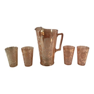 Mid-Century Peach Luster Floral Pitcher & Glasses - Set of 5 For Sale