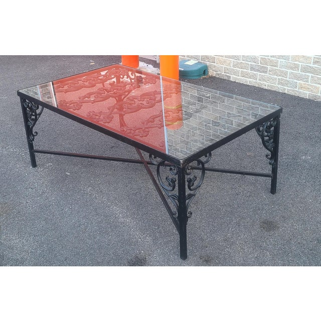 Heavy Wrought Iron Glass Top Coffee Table ~ Fabricated From Old French Gate, 50 X 29.5 ~1990s For Sale - Image 4 of 13