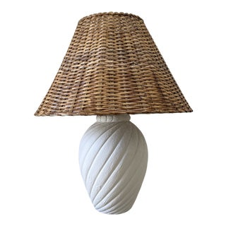 1980s Plaster Pottery Lamp With Wicker Shade For Sale
