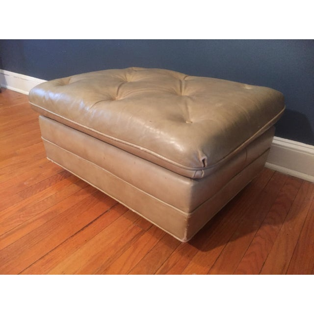Traditional Vintage Distressed Leather Ottoman on Wheels For Sale - Image 3 of 9