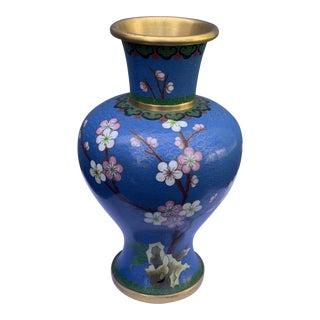 Vintage Blue Cloisonne Vase For Sale