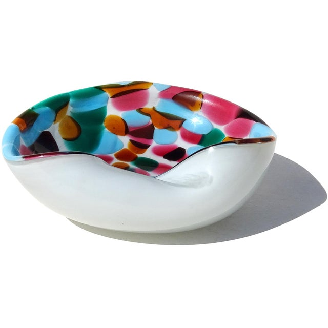 Abstract Murano Vintage White Blue Pink Green Orange Spots Italian Art Glass Midcentury Bowl Ashtray For Sale - Image 3 of 6